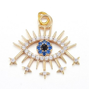Brass Micro Pave Cubic Zirconia Pendants, with Jump Rings, Eye, Blue, Real 18K Gold Plated, 19.7x21.1x2mm, Jump Ring: 4.4x0.6mm, Hole: 3.2mm(X-KK-I674-24G)