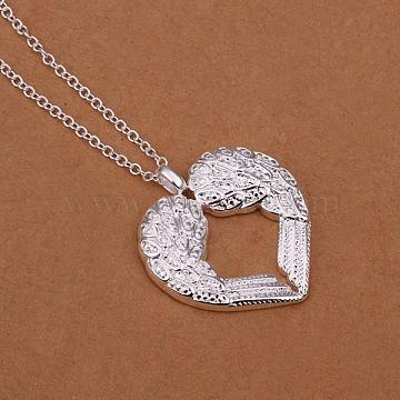 Simple Silver Color Plated Brass Heart Wing Pendant Necklaces For Women, 18 inches(NJEW-BB12774)