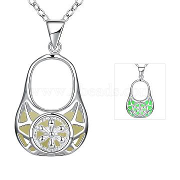 Zinc Alloy Hollow Handbag Noctilucent Necklaces, with Cable Chains, Fluorescent Green, Silver Color Plated, 19.6 inches(NJEW-BB03087-A)