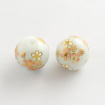 Flower Picture Glass Round Beads, with Gold Metal Enlaced, White, 14x13mm, Hole: 1.5mm(GFB-R004-14mm-I12)