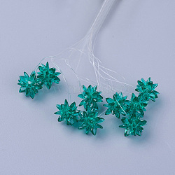 perles de verre tissées, fleur / sparkler, fait de charmes en oeil de cheval, darkcyan, 13 mm(EGLA-L014-21R)