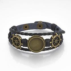 """Fabrication de bracelet en similicuir, avec réglage cabochon en alliage et cordons cirés, barre, bronze antique, noir, plateau: 18mm; 8-3/8"""" (213mm)(X-MAK-R024-04)"""
