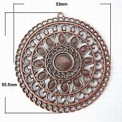 Alliage de style tibétain rondes plat supports grand pendentif aztèque cabochon, sans plomb et sans nickel, cuivre rouge, 55.5x53x2.5mm, Trou: 2mm(X-PALLOY-A17050-R)