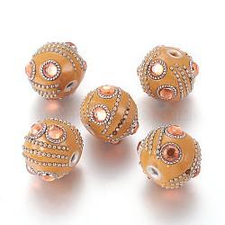 Perles d'Indonésie main, avec strass, découvertes de chaînes de fer et d'alliages, arrondir, argent antique et platine, topaze, Sandybrown, 22~25x20.5~21.5 mm, trou: 3~3.5 mm(IPDL-K004-A02)