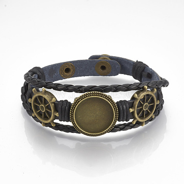 Imitation Leather Bracelet Making, Cadmium Free & Lead Free, with Alloy Cabochon Setting and Waxed Cords, Helm, Antique Bronze, Black, Tray: 18mm, 8-3/8 inches(213mm)(X-MAK-R024-04)