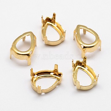 Flat Teardrop Brass Rhinestone Claw Settings, Open Back Settings, Within the Error Range of 1mm, Golden, 30x20x0.4mm; Fit for 20x30mm cabochons; about 150pcs/bag(KK-N0084-02G-20x30)