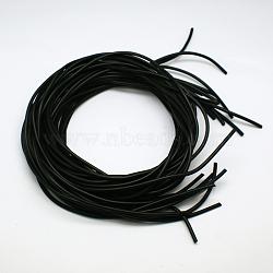 Synthétique cordon de perles en caoutchouc, rond et creux, noir, 5.0mm, trou: 2.0mm; 1m / brin(RCOR-A013-03-5.0mm)