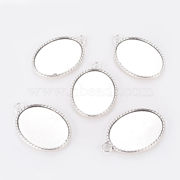 Tibetan Style Pendant Cabochon Settings, Plain Edge Bezel Cups, Lead Free & Nickel Free, Oval, Antique Silver, 50x34x3mm, Hole: 6mm, Tray: 40x31mm(X-TIBE-A134905-AS-FF)