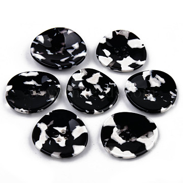 4-Hole Cellulose Acetate(Resin) Buttons, Black, 34~35x32~33x4.5mm, Hole: 1.6~1.8mm(BUTT-S026-009B-02)