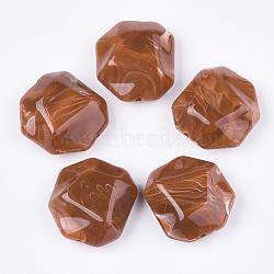 perles acryliques, style de pierres précieuses imitation, facettes, polygone, chocolat, 35x32.5x16 mm, trou: 2.5 mm(OACR-T011-166C)