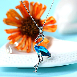 Red-crowned Red Crowned Crane Real Platinum Plated Alloy Austrian Crystal Pendant Sweater Necklaces, 202_Aquamarine, 27.5inches(NJEW-DD0009-167C)