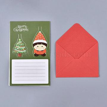 Christmas Pop Up Greeting Cards and Envelope Set, Funny Unique 3D Holiday Postcards, Gifts for Xmas, Christmas Tree and Child Pattern, Olive, 8.5x10.5x0.01cm, 81x10x0.04cm(DIY-G028-D01)