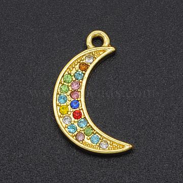 Alloy Rhinestone Pendants, Moon, Golden, Colorful, 17x9x1.5mm, Hole: 1.2mm(PALLOY-S098-DA017)