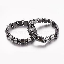 """Valentine jour cadeaux pour mari bracelet extensible hématite synthétique magnétique, Environ 2-1/8"""" (53mm) de long, la Perle: 6 mm, le rectangle perle: 13x6 mm(X-IMB005)"""