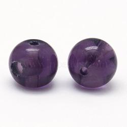 3 -hole perles rondes d'améthyste de synthèse, perles bouddha, perles t-percées, indigo, 8mm, Trou: 1~1.5mm(G-N0012-8mm-10)