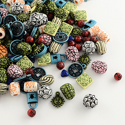 Mixed Antique Style Acrylic Beads/Pendants, Mixed Color, 7~25x7~20x4~13mm, Hole: 1~4mm(MACR-R546-05)