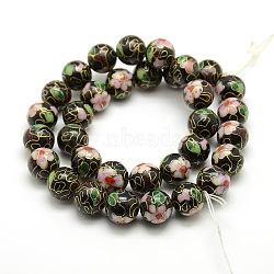 """Motif vintage de fleur cloisonné main chapelets de perles rondes, noir, 12mm, trou: 1 mm; environ 15.7"""", 33 pcs / chapelet(CLB-O002-02)"""