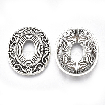Tibetan Style Alloy Cabochon Settings, Cadmium Free & Lead Free, Oval with Flower, Antique Silver, Tray: 18x13mm, 28.5x23.5x3mm(X-TIBE-S314-37AS-LF)