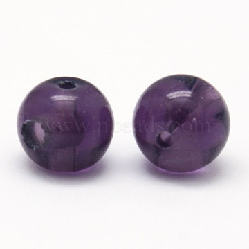 3-Hole Synthetic Amethyst Round Beads, Buddha Beads, T-Drilled Beads, Indigo, 8mm, Hole: 1~1.5mm(G-N0012-8mm-10)