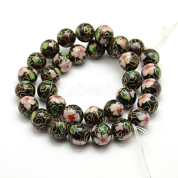 Vintage Flower Pattern Handmade Cloisonne Round Bead Strands, Black, 12mm, Hole: 1mm, about 15.7 inches, 33pcs/strand(CLB-O002-02)