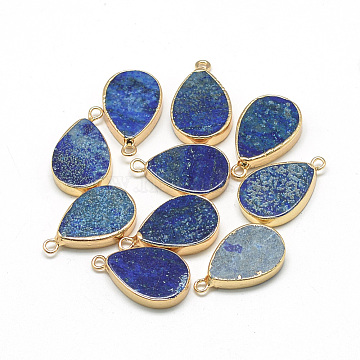 Synthetic Lapis Lazuli Pendants, with Iron Findings, Dyed, teardrop, Golden, 22~23x13~14x3~4mm, Hole: 2mm(X-G-Q494-52B)