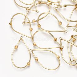 Pendentifs en laiton, pour la moitié de perles percées, goutte , véritable 18k plaqué or, 30x17x3mm, trou: 1.2 mm; broches: 0.7 mm(KK-T035-103G)