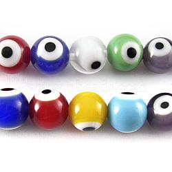 """Chapelets de perles de Murano italiennes manuelles, mauvais œil, rond, colorées, taille: environ 6mm de diamètre, trou: 0.8mm; environ 69 pcs/chapelet, 15.5""""(X-D215)"""