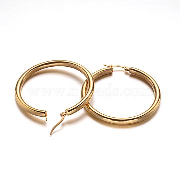 Ring 304 Stainless Steel Hoop Earrings, Hypoallergenic Earrings, Golden, 51.5x48x4mm; Pin: 1mm(X-EJEW-L142-008)