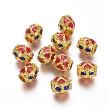 Alloy Enamel Beads, Barrel with Heart Pattern, Golden, Red & Blue, 8x7mm, Hole: 3.5mm(ENAM-E294-01G-A)