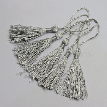 Polyester Tassel Decorations, Pendant Decorations, Silver, 130x6mm, Tassel: 70~90mm(X-OCOR-Q023-07)