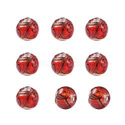 Perles vernissées de sable d'or manuelles , rond, rouge, 11.5~12mm, Trou: 1.2~2mm(LAMP-TAC0001-01H)