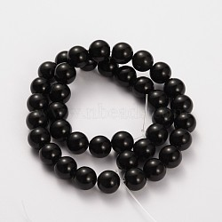 pierre naturelle perles rondes obsidienne brins, 10 mm, trou: 1 mm; environ 38 perle / brin, 15(G-O030-10mm-08)