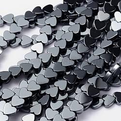 Chapelets de perles en hématite synthétique sans magnétiques, fabrication de cadeaux pour la fête des mères, cœur, noir, taille: environ 6mm de diamètre, épaisseur de 2mm, Trou: 0.8mm(X-IM006)
