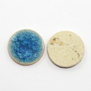 Flat Round Handmade Crackle Porcelain Cabochons, MediumBlue, 23x3~5mm(PORC-P008-5)