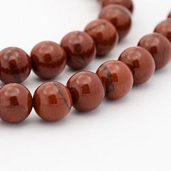 """Chapelets de perle ronde en pierre précieuse naturelle, jaspe rouge, 6mm, trou: 1mm; environ 68 pcs/chapelet, 15.7""""(G-J302-08-6mm)"""