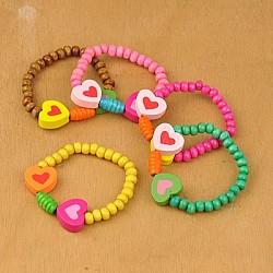 Bracelets colorés en bois pour enfants, cadeaux de fête des enfants, élastique, couleur mixte, 45mm(BJEW-JB00772)