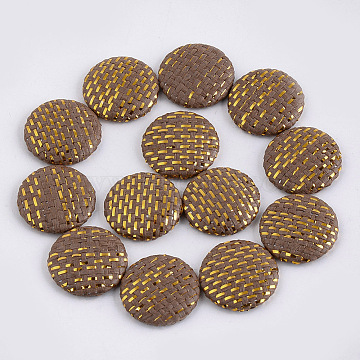 Handmade Straw Woven Cabochons, with Aluminum Bottom, Flat Round, Platinum, Coffee, 25~25.5x6mm(X-WOVE-S119-03B-01)