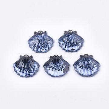 Handmade Porcelain Pendants, Fancy Antique Glazed Porcelain, Scallop Shell Shape, Midnight Blue, 28.5x30x6mm, Hole: 2mm(PORC-S498-53M)