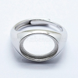 925 Sterling Silver Finger Ring Components, Adjustable, Oval, Platinum, Size 7 (17.5mm); 2.5mm wide, Tray: 11x14mm(STER-G027-11P)
