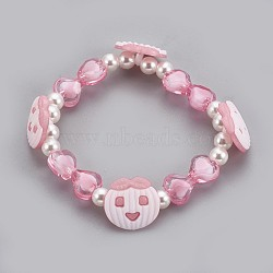 """Bracelets extensibles en perles acryliques pour enfants, avec boutons en acrylique, pomme & coeur & rond, rose, 1-7/8"""" (4.8 cm)(BJEW-JB03888-01)"""