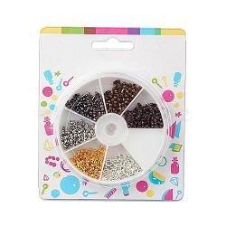 Connecteurs de chaîne à boule en laiton, couleur mixte, 5x2 mm; environ 420 pcs / boîte(KK-JP0002-01)