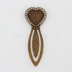 Supports fer coeur de signet cabochon pour lunette, bronze antique, 74x28x3 mm; plateau: 20x20 mm(X-PALLOY-N0084-26AB-NF)
