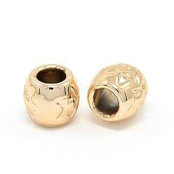 perles européennes en alliage d'or sans nickel et sans plomb, plaqué longue durée, grandes perles de trou, Rondelle avec motif étoiles, 9x8 mm, trou: 4 mm(PALLOY-J218-021G)