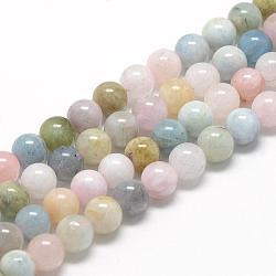 "Chapelets de perles en morganite naturelle, grade AB, rond, 8~9mm, trou: 1mm; environ 45~48 pcs/chapelet, 15.7""(G-R446-8mm-06)"