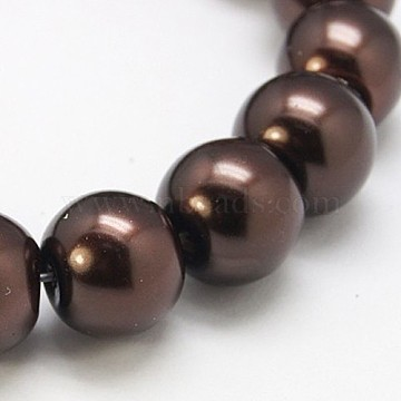 6mm SaddleBrown Round Glass Pearl Beads