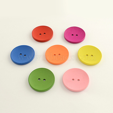 2-Hole Flat Round Wooden Buttons, Dyed, Mixed Color, 30x5mm, Hole: 3.5mm(X-BUTT-Q032-62D)