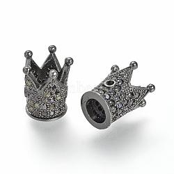 Brass Micro Pave Cubic Zirconia Bead, Crown, Gunmetal, 12x10mm, Hole: 1~5mm(ZIRC-S053-YS009B-4)