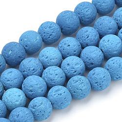 """Chapelets de perles de lave naturelle, teint, rond, bleu foncé, 10mm, trou: 1mm; environ 41 pcs/chapelet, 15.75"""" (40 cm)(X-G-S277-10mm-07)"""
