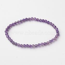 """Naturelles améthyste perle ronde bracelets extensibles, 2-1/8"""" (5.45 cm)(X-BJEW-L594-B08)"""