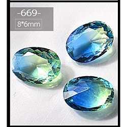 Accessories de décoration d'art d'ongle de strass en verre, ovale, dodgerblue, 8x6mm(MRMJ-E002-10-669)